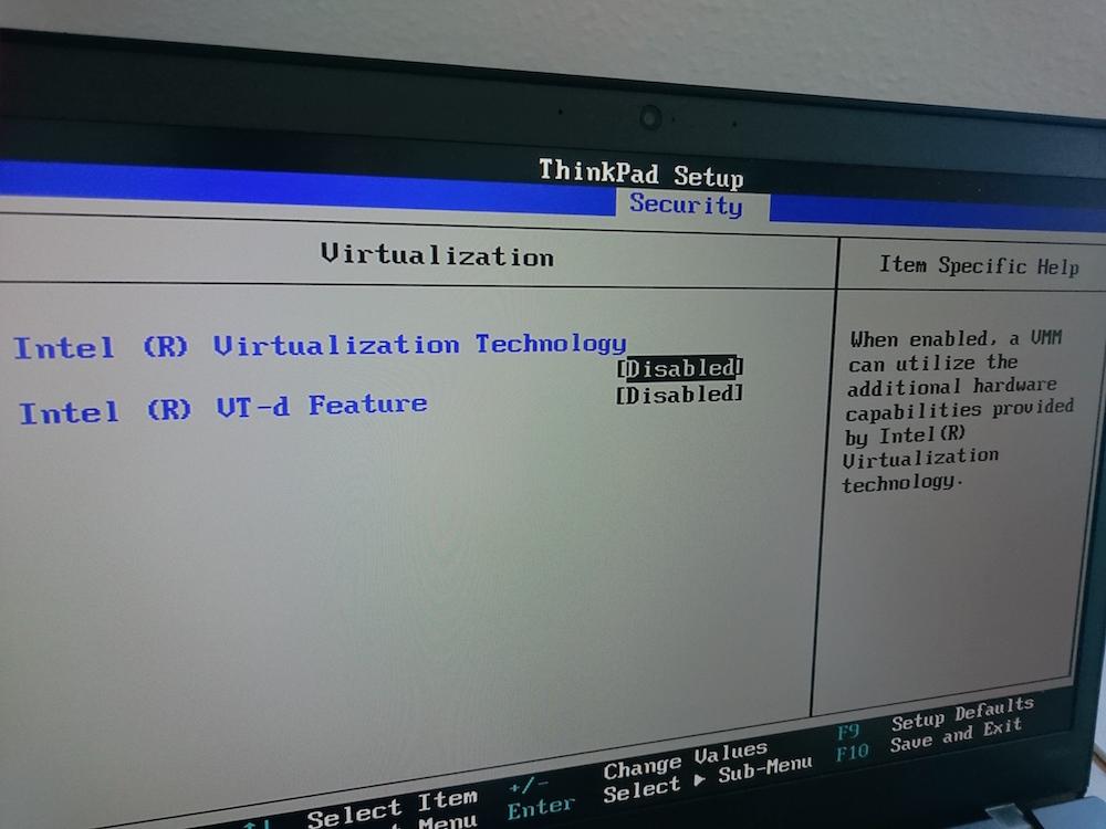 Lenovo ThinkPad T450s Bios Intel VT-x (Bild: Copyright Benjamin Blessing).