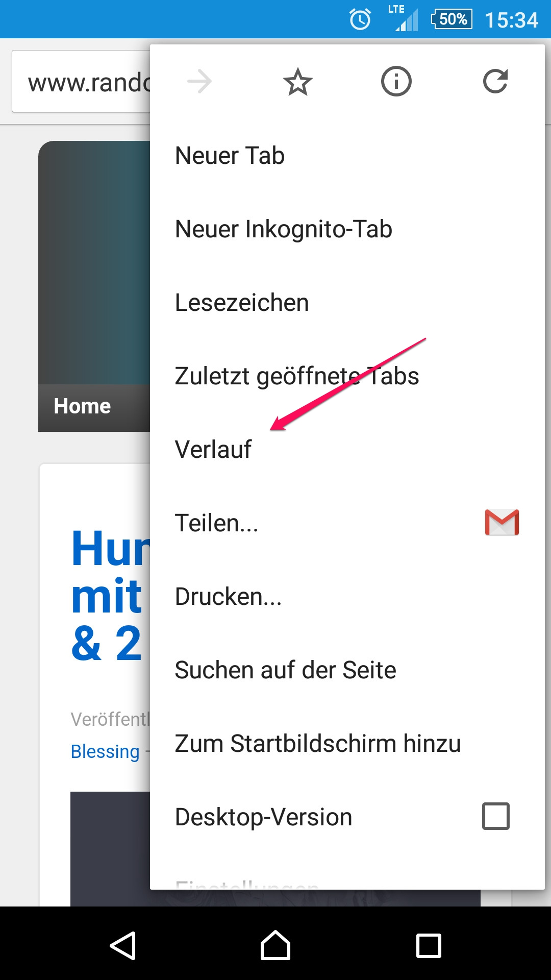 Verlauf in Chrome für Android aufrufen (Bild: Screenshot Chrome).