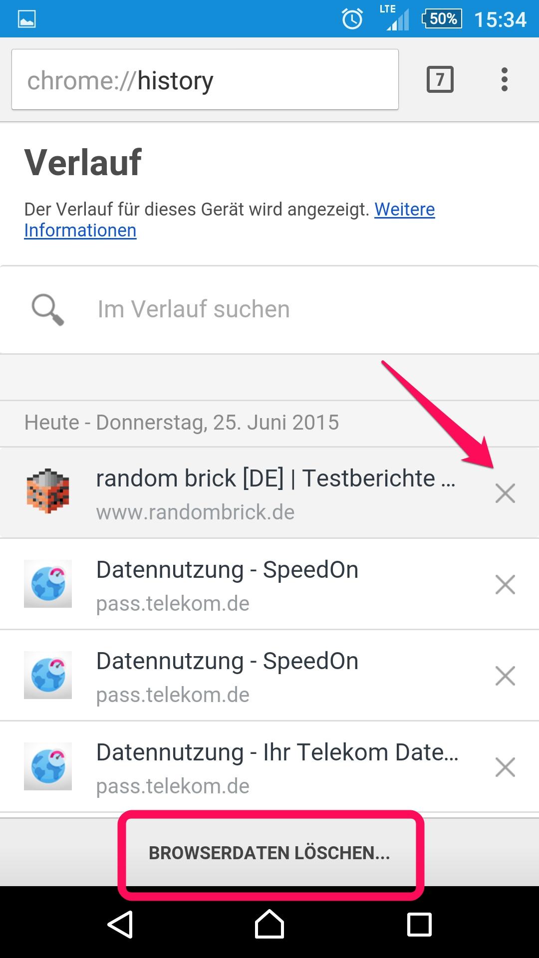 Einzelne Webseiten im Verlauf in Chrome löschen (Bild: Screenshot Android).