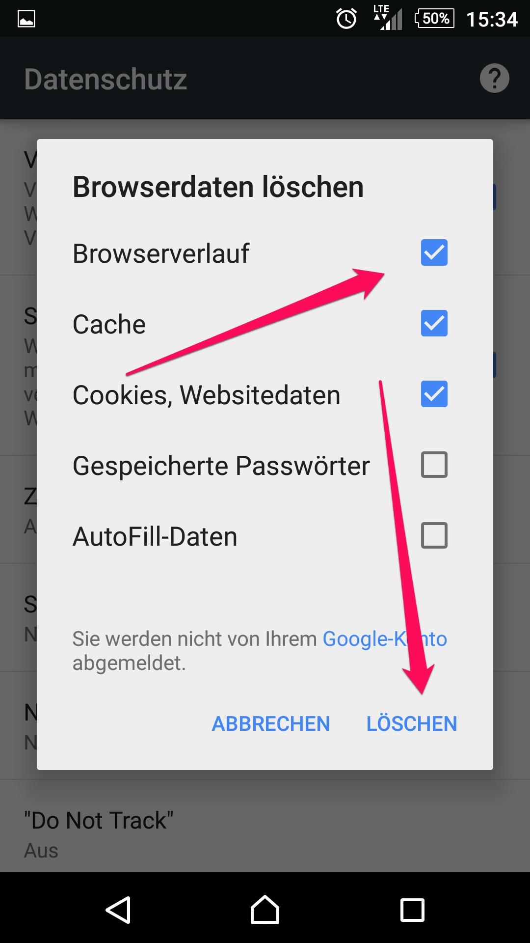 Browserdaten in Chrome für Android löschen (Bild: Screenshot Chrome).