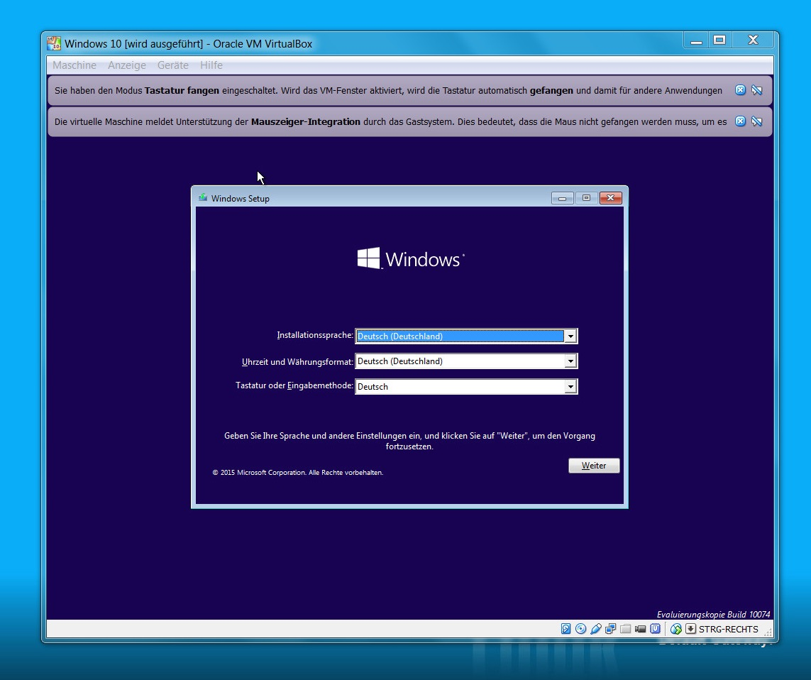 VirtualBox Windows 10 installieren (Screenshot VirtualBox).
