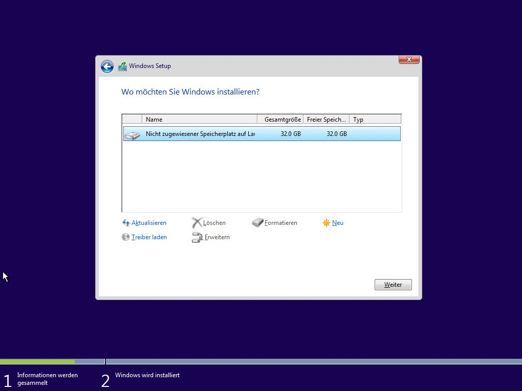 Windows 10 installieren (Bild: Screenshot Windows 10).
