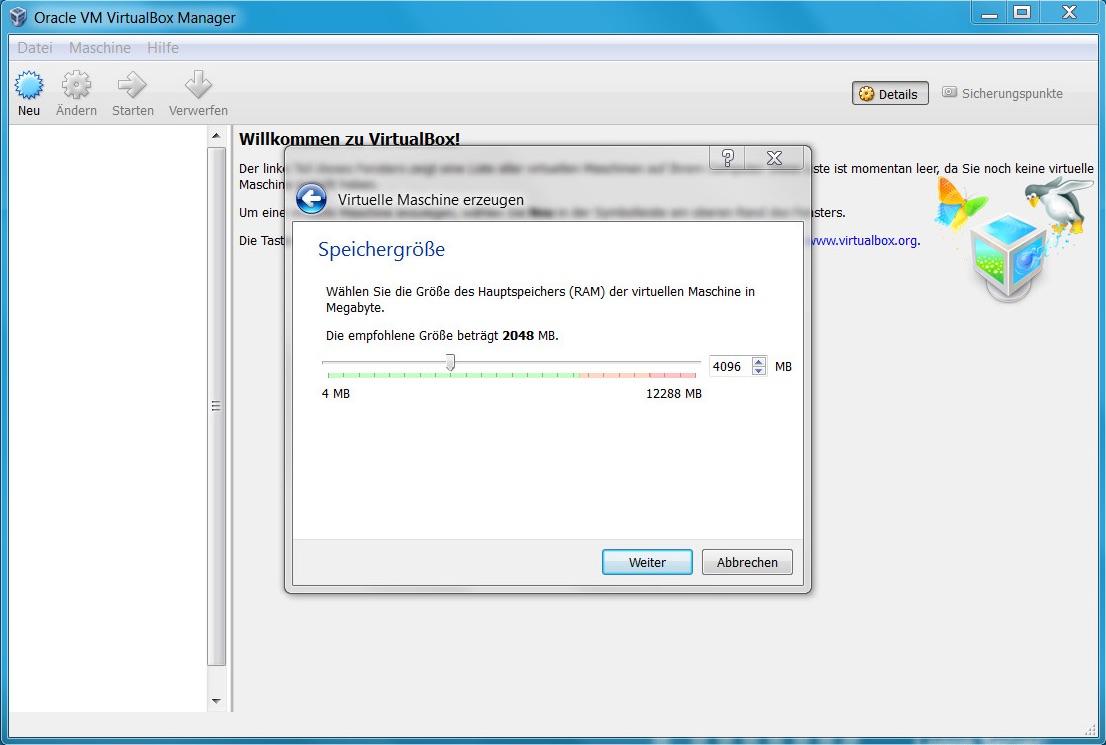 VirtualBox neue virtuelle Maschine - RAM (Bild: Screenshot Virtual Box).