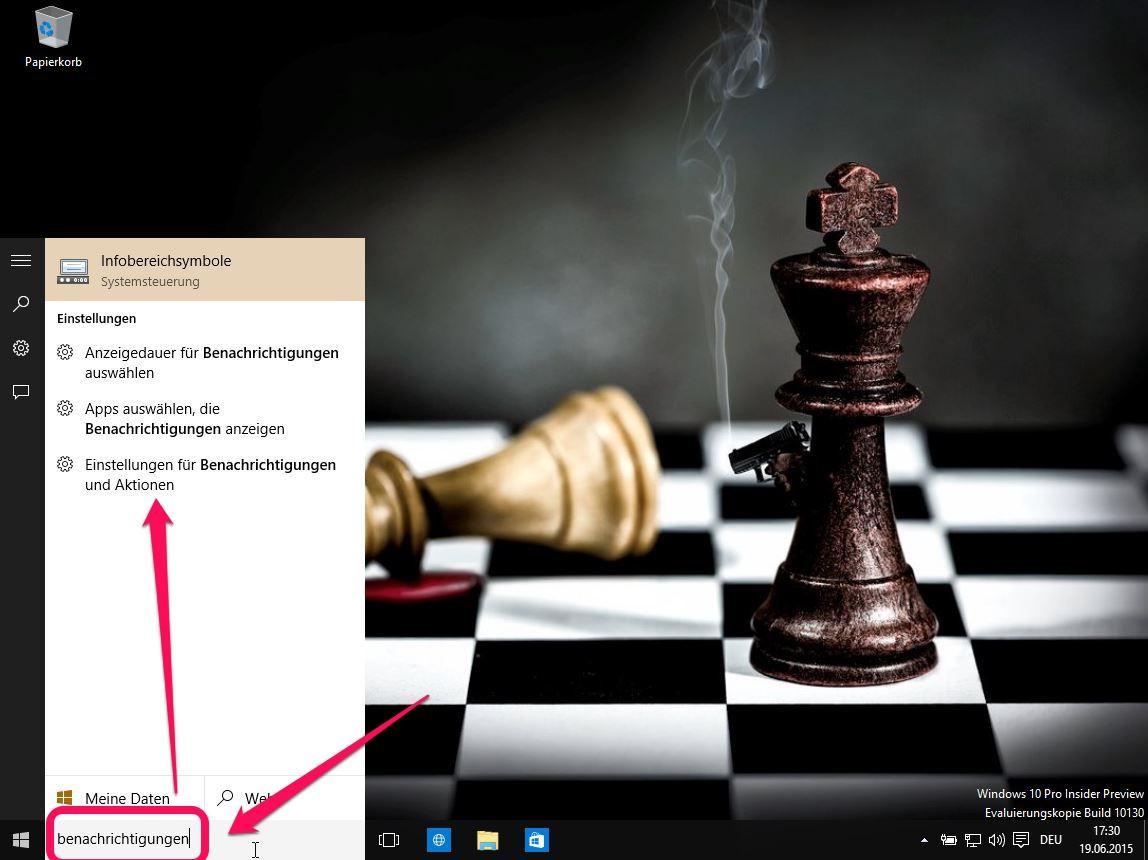 Windows 10 Benachrichtigungen über die Suche aufrufen (Bild: Screenshot Windows 10).
