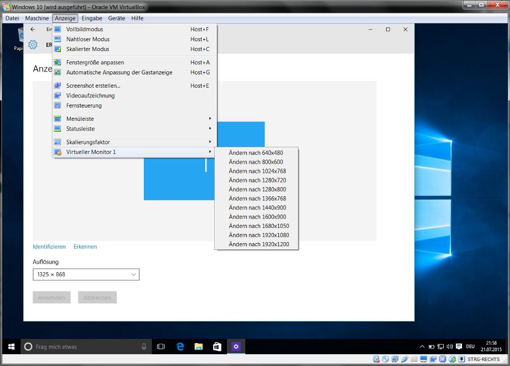 Änderung der Bildschirmauflösung im Windows 10 Gastsystem (Bild: Screenshot Windows 10).