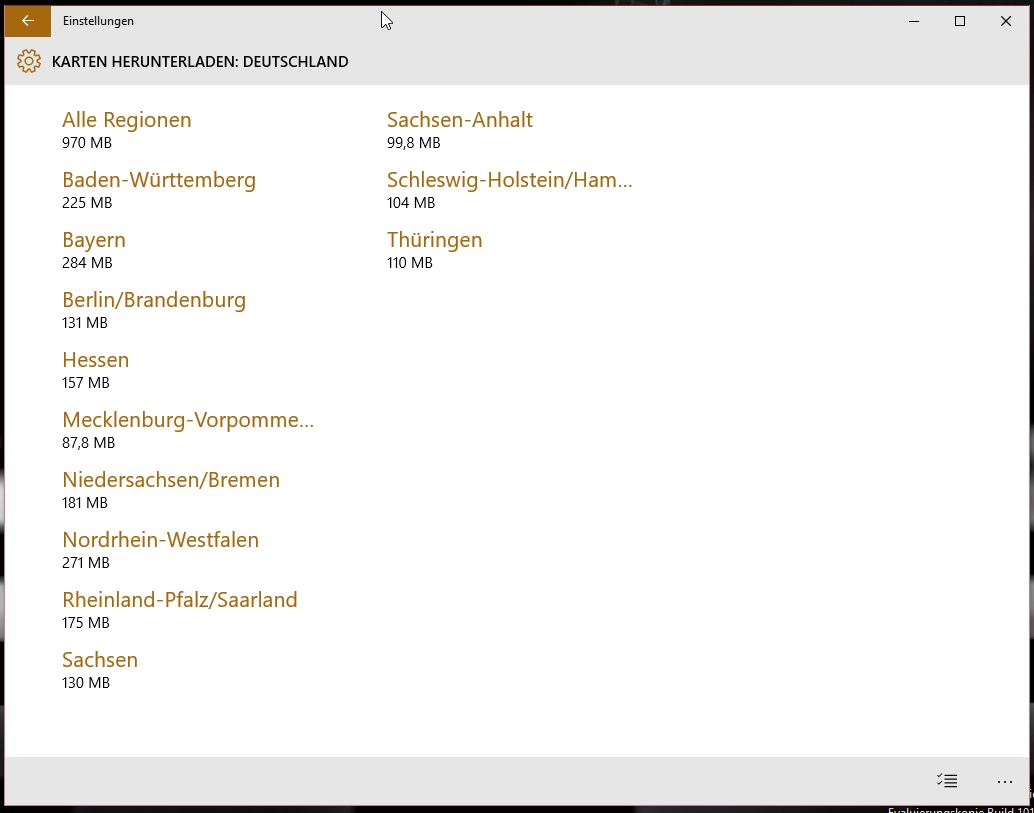 Windows 10 Offlinekarten nach Bundesland (Bild: Screenshot Windows 10).