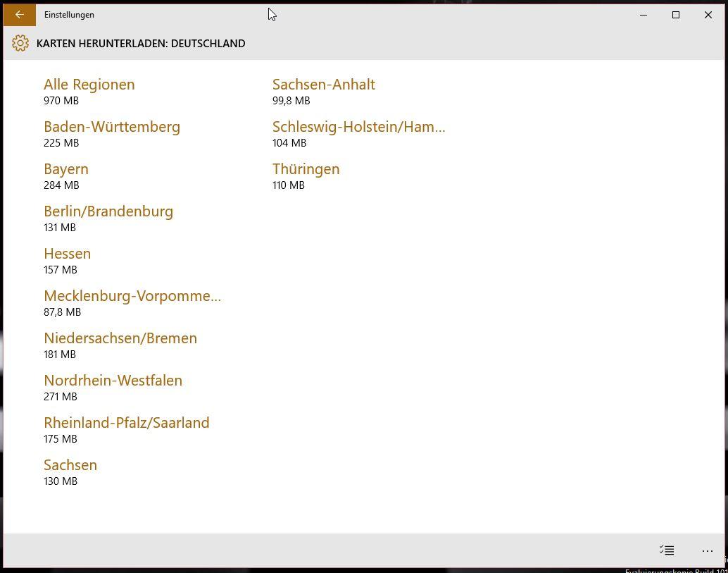 Windows 10 Offlinekarten nach Bundesland (Bild: Screenshot Windows 10).
