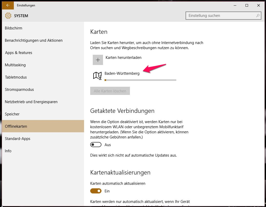 Windows 10 Offlinekarten herunterladen (Bild: Screenshot Windows 10).
