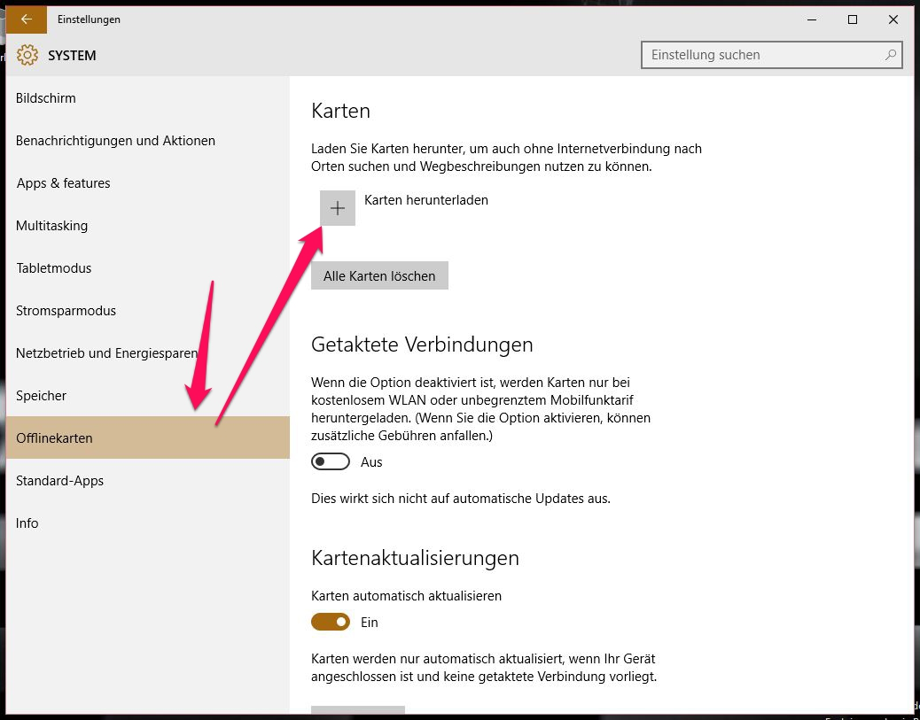 Windows 10 Offlinekarten nutzen (Bild: Screenshot Windows 10).