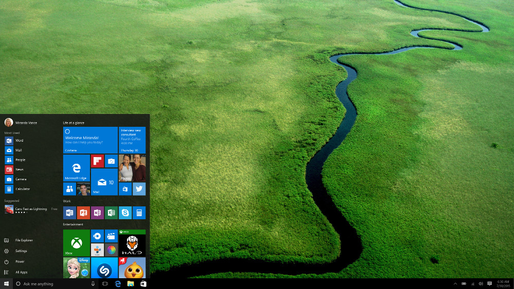 Windows 10 Startmenü (Bild: Microsoft Press Images).