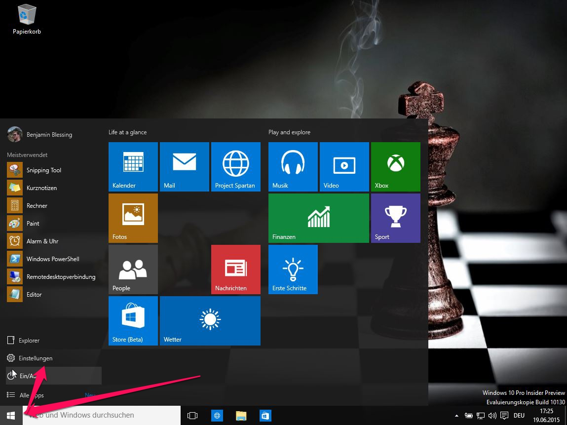 Windows 10 Startmenü (Bild: Screenshot Windows 10).