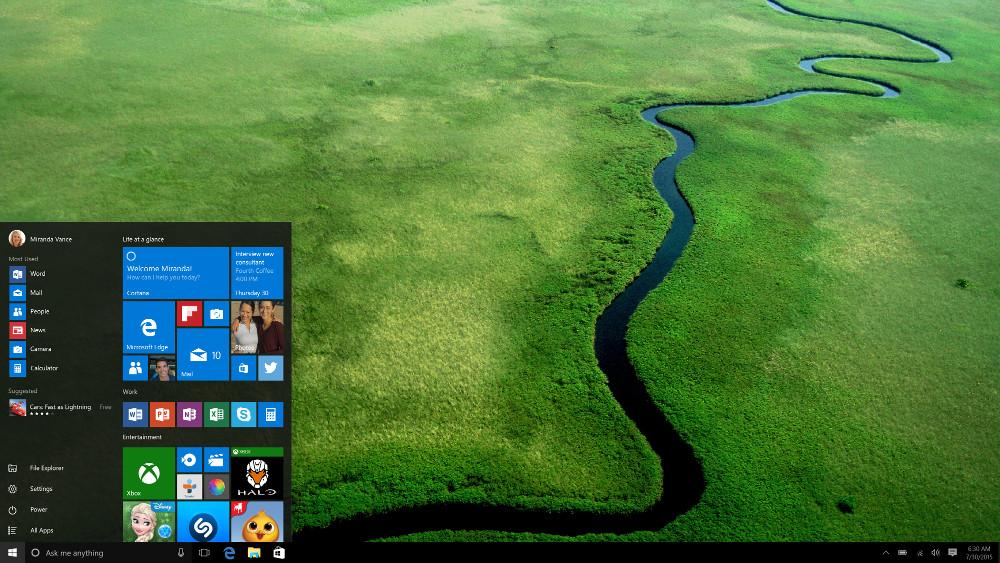 Windows 10 Startmenü (Bild: Microsoft Press Images).