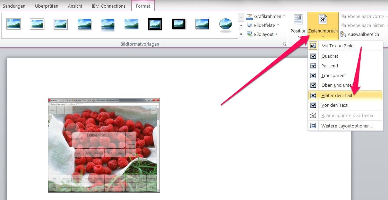 Bilder in Word frei verschieben (Bild: Screenshot Word 2010).