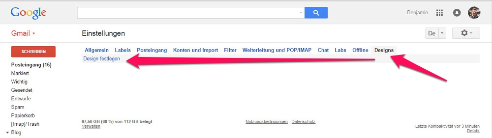 Themes in Gmail ändern (Bild: Screenshot Gmail).