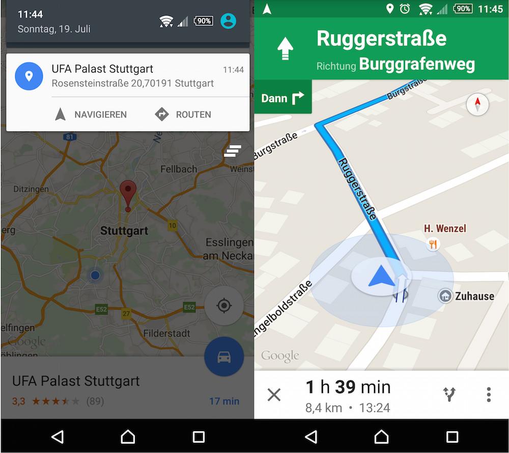 Die Navigation direkt aus dem gesendeten Standort heraus starten (Bild: Screenshot Android).