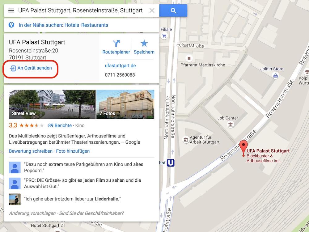 Google Maps Standorte an Android Smartphones senden (Bild: Screenshot Google Maps).