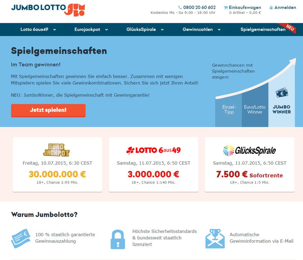 Jumbolotto ermöglicht die Spielteilnahme am staatlichen Lotto (Bild: Screenshot Jumbolotto.de).