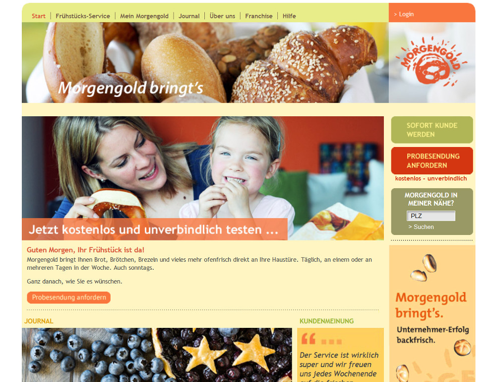 Morgengold der Frühstücksdienste (Bild: Screenshot Morgengold.de).