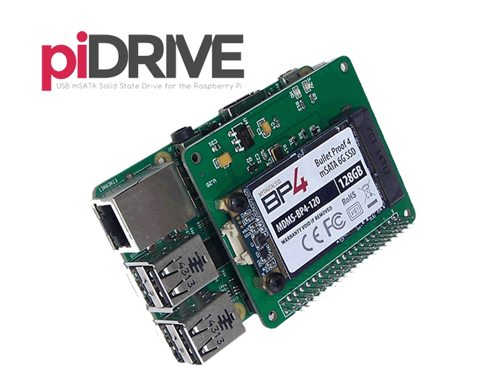PiDrive erweitert den Raspberry Pi um einen mSATA SSD Anschluss (Bild: Kickstarter).