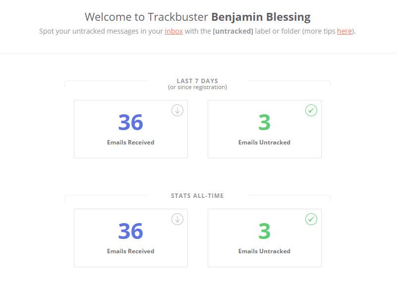 Der Report zeigt die Anzahl der analysierten E-Mails und die Anzahl der E-Mails mit Tracking-Code (Bild: Screenshot Trackbuster).
