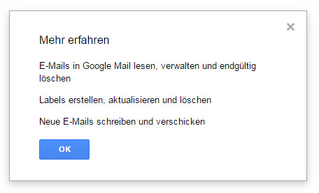 Um die E-Mail Privatsphäre zu erhöhen. benötigt Trackbuster umfangreiche Rechte (Bild: Screenshot Gmail).