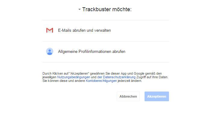 Trackbuster benötigt Zugriff auf den Gmail Account (Bild: Screenshot Gmail).