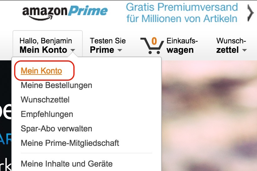 In den Amazon Account einloggen (Bild: Screenshot Amazon).