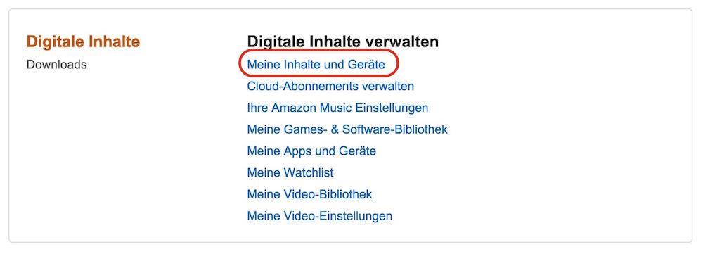 """Die Option: Digitale Inhalte verwalten"""" aufrufen (Bild: Screenshot Amazon)."""