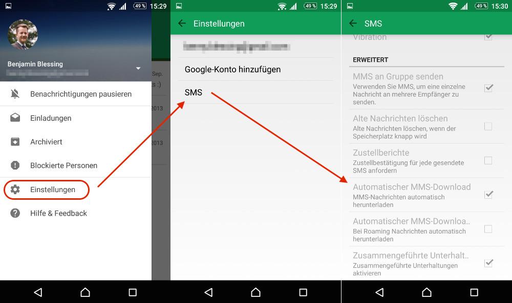 Google Hangouts: Automatischer Download von MMS deaktivieren (Bild: Screenshot Android).
