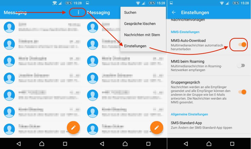 Messaging: Automatischer Download von MMS deaktivieren (Bild: Screenshot Android).