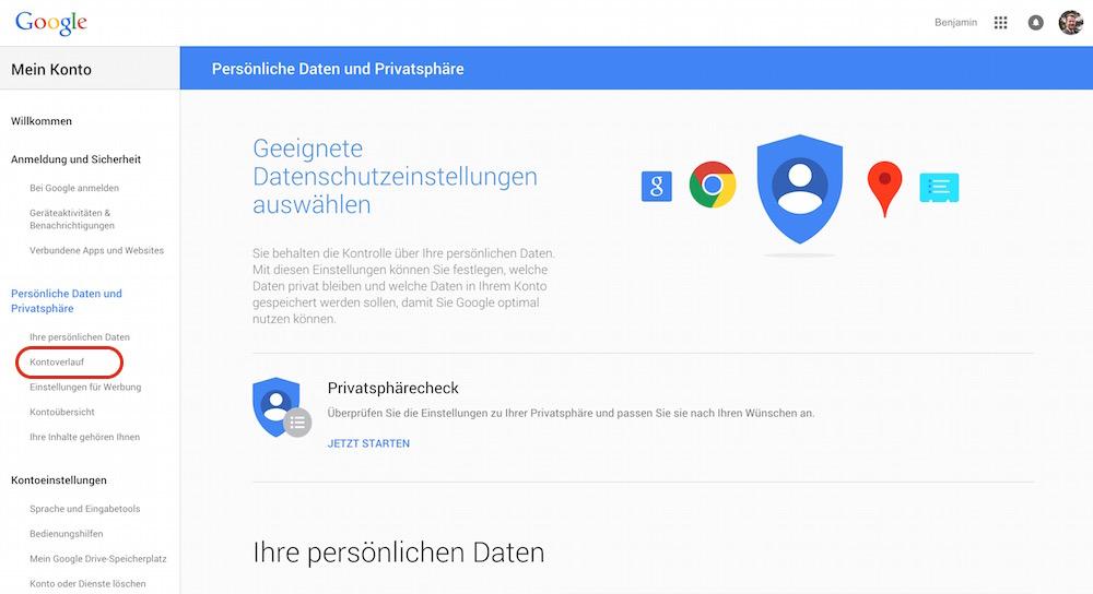 Privatsphäreeinstellungen zum Google Konto (Bild: Screenshot Google).