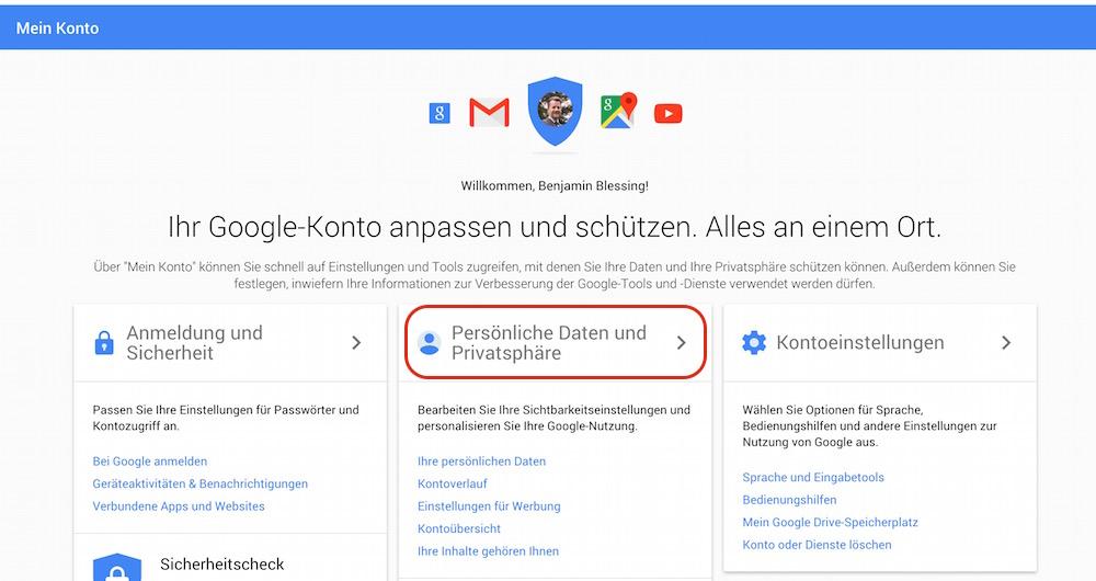 In der Übersicht werden alle Einstellungen zum Google Konto aufgelistet (Bild: Screenshot Google).