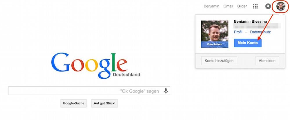 Einloggen in das Google Konto (Bild: Screenshot Google).