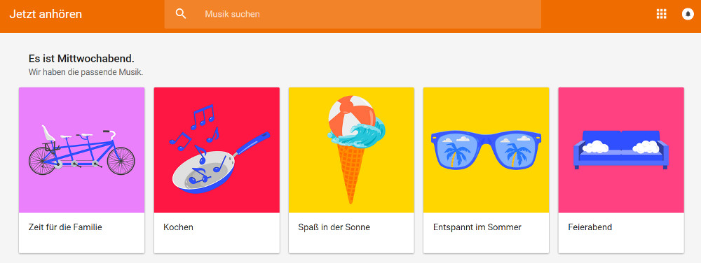 Google Play Musik jetzt mit kuratierte Playlisten (Bild: Screenshot Google Play Music).