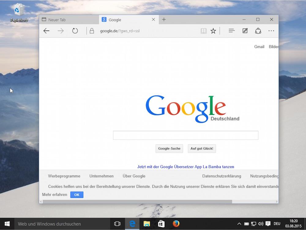 Google.de in Edge als Standarsuchmaschine verwenden (Bild: Screenshot Windows 10).