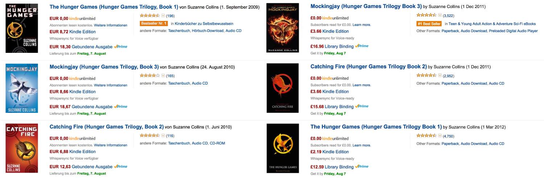 Preisunterschied zwischen Amazon.de und Amazon.co.uk für das gleiche Buch (Bild: Screenshot Amazon).