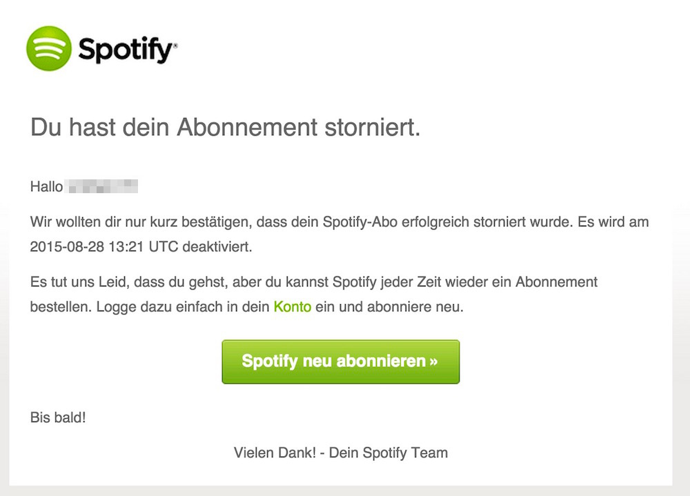 Spotify Abonnement kündigen (Bild: Screenshot Spotify).