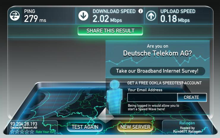 DSL Geschwindigkeit im Hotel (Bild: Screenshot speedtest.net).