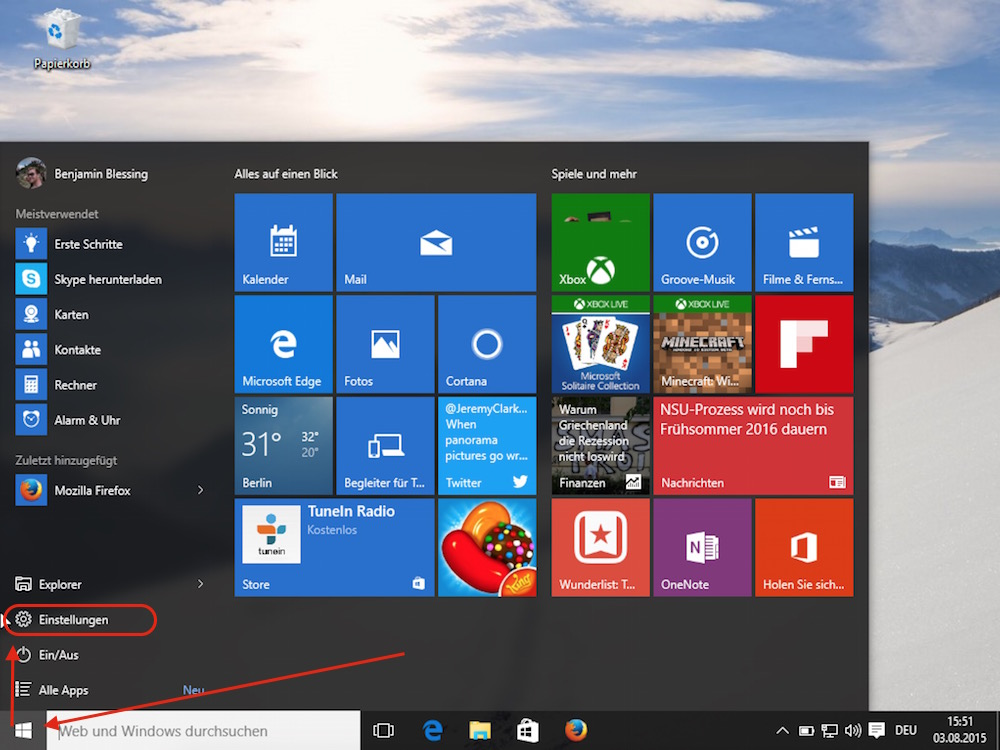 Windows 10 Einstellungen (Bild: Screenshot Windows 10).