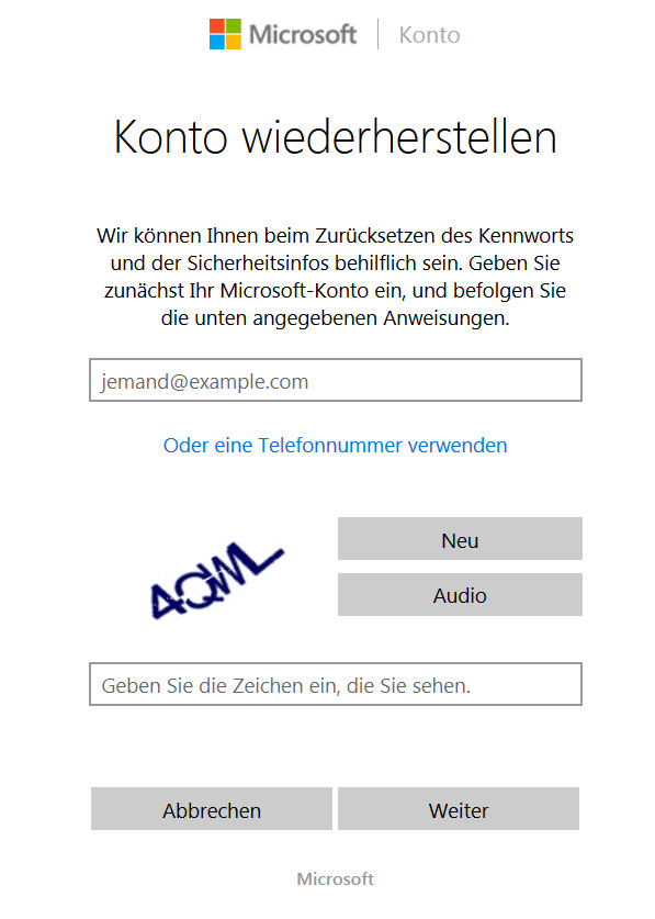 Windows 10 Konto wiederherstellen (Bild: Screenshot live.com).