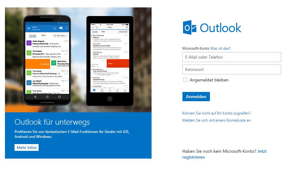 Über login.live.com können sich Windows 10 Nutzer online anmelden (Bild: Screenshot live.com).