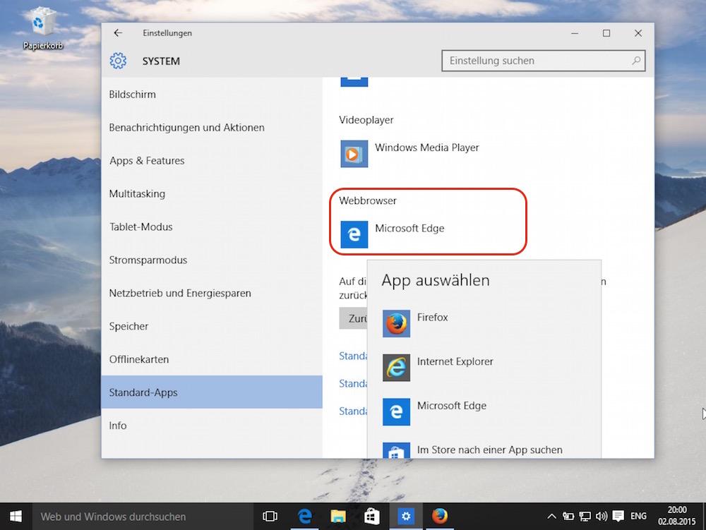 Im Menü für die Standard-App unter Windows 10 lässt sich der Standardbrowser ändern (Bild: Screenshot Windows 10).