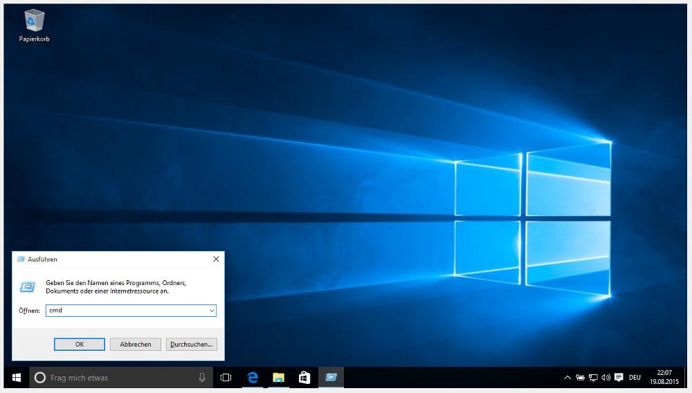 Windows 10 Tastenkürzel zum Öffnen des Ausführen-Dialogs (Bild: Screenshot Windows 10).