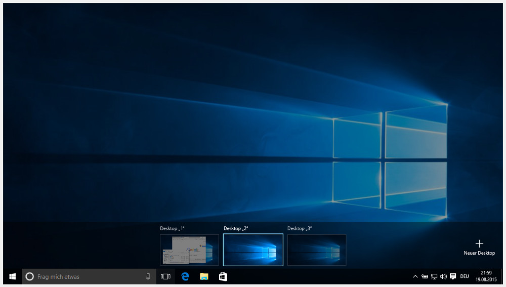 Mit den Windows 10 Tastenkombinationen virtuelle Desktops steuern (Bild: Screenshot Windows 10).