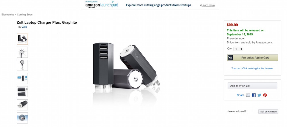 Zolt Laptop Charger Plus zu kaufen über Amazon Launchpad (Bild: Screenshot Amazon).