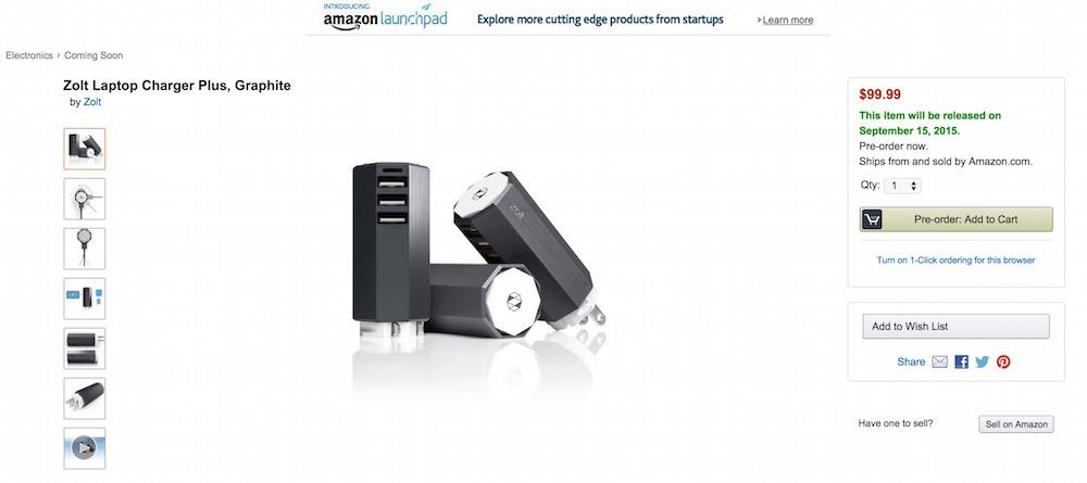 Zolt Laptop Charger Plus zu kaufen über Amazon Launchpad (Bild: Screenshot Amazon).
