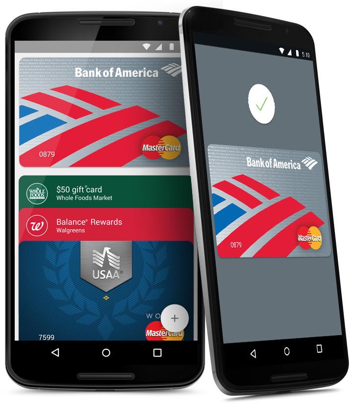 Android Pay speichert die Kreditkartendaten in der App (Bild: Screenshot Android.com).