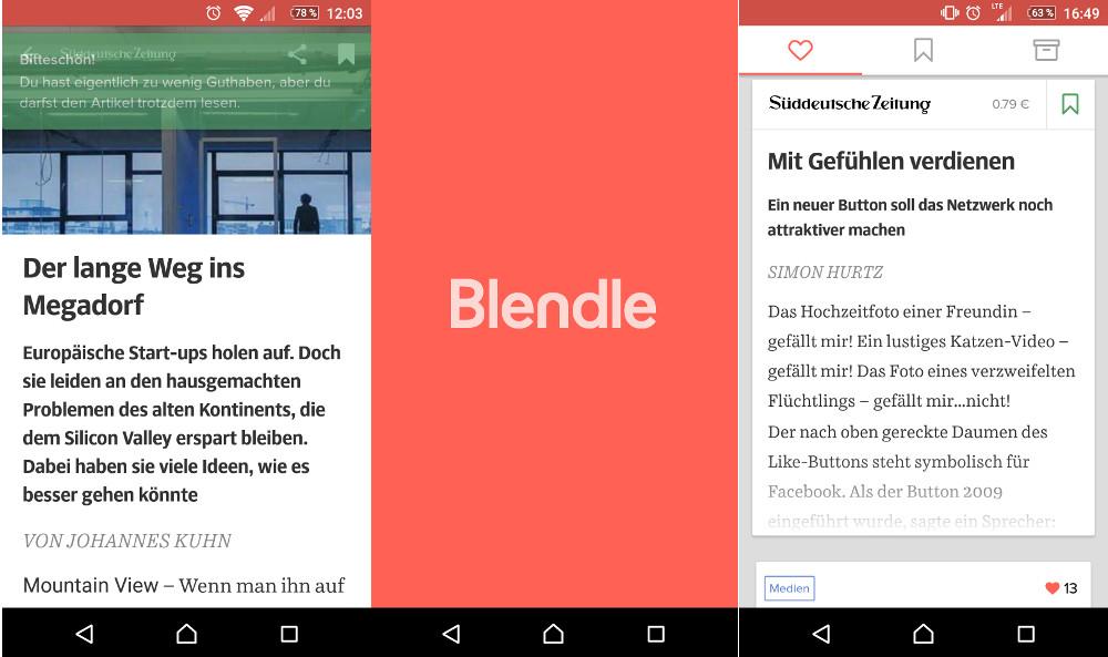 Die Blendle App für Android benötigt noch etwas Nachbesserung (Bild: Screenshot Android).