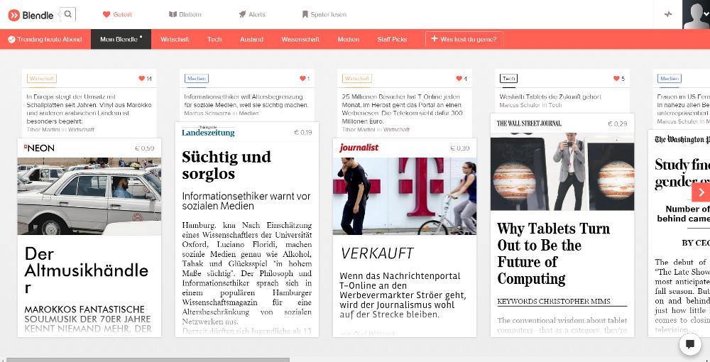 Blendle zeigt eine Auswahl an Artikel basierend auf den persönlichen Interessen (Bild: Screenshot Blendle).