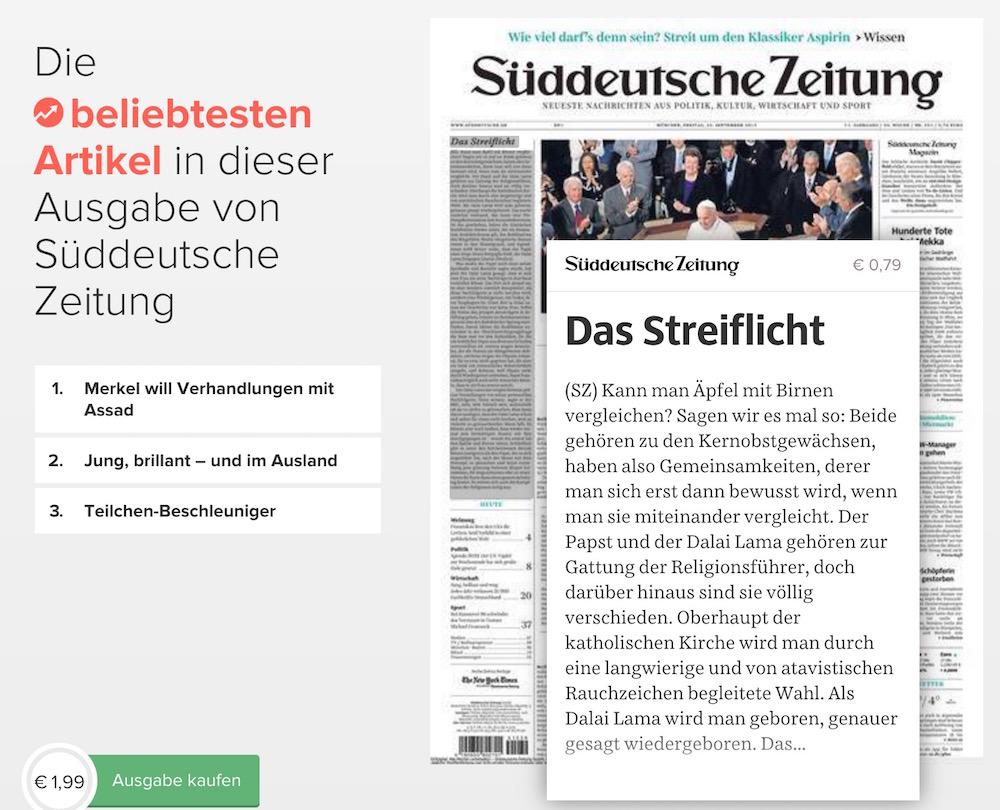 Die Preisgestaltung der Süddeutschen Zeitung bei Blendle ist fragwürdig (Bild: Screenshot Blendle).